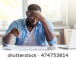 handsome tired afro american... | Shutterstock . vector #474753814