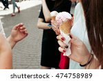 ice cream in hand. group of... | Shutterstock . vector #474758989