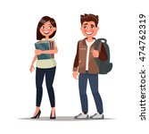 couple of students. the guy and ... | Shutterstock .eps vector #474762319