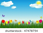 spring scene with flowers and...   Shutterstock .eps vector #47478754