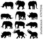 beast duel  elephants and rhinos | Shutterstock .eps vector #47479246