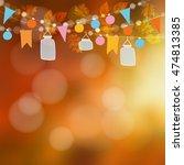 autumn fall blurred card ... | Shutterstock .eps vector #474813385