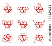 heart power set health cardio... | Shutterstock .eps vector #474824281