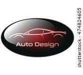 white super car on dark red... | Shutterstock .eps vector #474824605