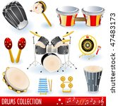 vector drums music icons | Shutterstock .eps vector #47483173
