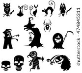 vector collection of halloween ... | Shutterstock .eps vector #474845311
