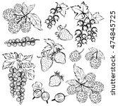 berries  raspberry  strawberry  ... | Shutterstock .eps vector #474845725