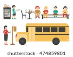 school flat set. isolated on... | Shutterstock .eps vector #474859801