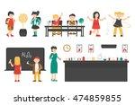school flat set. isolated on... | Shutterstock .eps vector #474859855