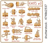 set of rope knots  hitches ... | Shutterstock .eps vector #474862537