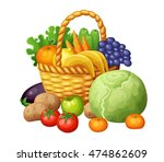 fruits and vegetables in the... | Shutterstock .eps vector #474862609
