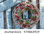 Round Wooden Wreath Of Wine...