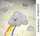 where does the rainbow  cute...   Shutterstock .eps vector #474864499