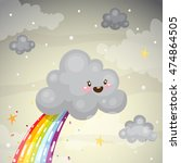 where does the rainbow  cute...   Shutterstock .eps vector #474864505