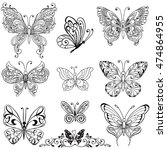 collection of  black decorative ... | Shutterstock .eps vector #474864955
