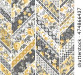 seamless floral patchwork... | Shutterstock .eps vector #474866437