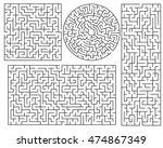 vector maze templates. circle... | Shutterstock .eps vector #474867349