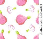 vector onion and garlic... | Shutterstock .eps vector #474867871