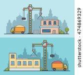 linear flat construction site... | Shutterstock .eps vector #474869329