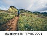 man hiking the laugavegur trail ... | Shutterstock . vector #474870001