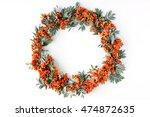 Red Rowan Wreath Frame On Whit...