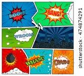 set of comic book design...   Shutterstock .eps vector #474874291