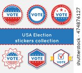 usa election stickers...   Shutterstock .eps vector #474876127