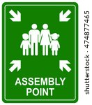 assembly point sign. meeting... | Shutterstock .eps vector #474877465