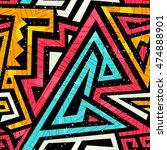 graffiti seamless pattern with... | Shutterstock .eps vector #474888901