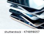 stack of high end smartphones... | Shutterstock . vector #474898057