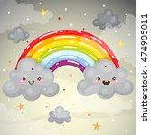 cute dark clouds and a rainbow  ...   Shutterstock .eps vector #474905011