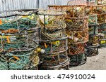 Colorful Crab Traps Are Stacked ...