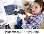 female photographer sitting on... | Shutterstock . vector #474912481