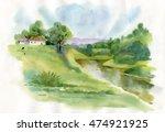watercolor rural house in green ... | Shutterstock . vector #474921925