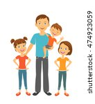 father with kids. dad and... | Shutterstock .eps vector #474923059