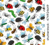 bugs and insects funny cartoon... | Shutterstock .eps vector #474924649