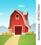 red farm barn | Shutterstock .eps vector #474927664