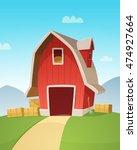 red farm barn | Shutterstock .eps vector #474927664