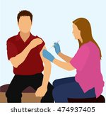 female nurse giving patient a... | Shutterstock .eps vector #474937405