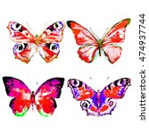butterfly watercolor  isolated... | Shutterstock . vector #474937744