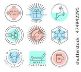 christmas outlined icons  ... | Shutterstock .eps vector #474942295
