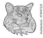 line art of cat for coloring on ...   Shutterstock .eps vector #474947125