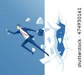 businessman breaks the wall ... | Shutterstock .eps vector #474950161