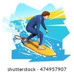 vector illustration of a surfer ... | Shutterstock .eps vector #474957907