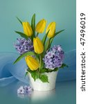Bouquet Of Hyacinths And Yello...