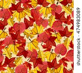 autumn vector seamless pattern. ... | Shutterstock .eps vector #474983089