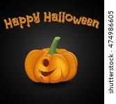 tasty pumpkin cartoon style on... | Shutterstock .eps vector #474986605