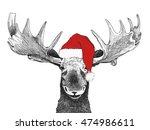 Christmas Moose With Santa...