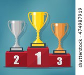gold  silver and bronze trophy... | Shutterstock .eps vector #474987919