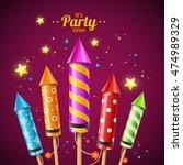 party rocket fireworks flyer... | Shutterstock .eps vector #474989329